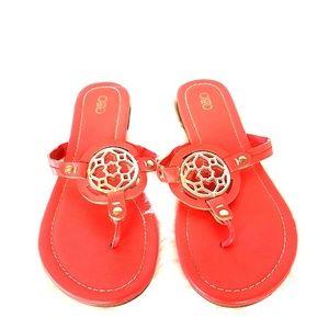 77c65ff5b Cato Womens Orange with Gold Medallion Sandals 10M